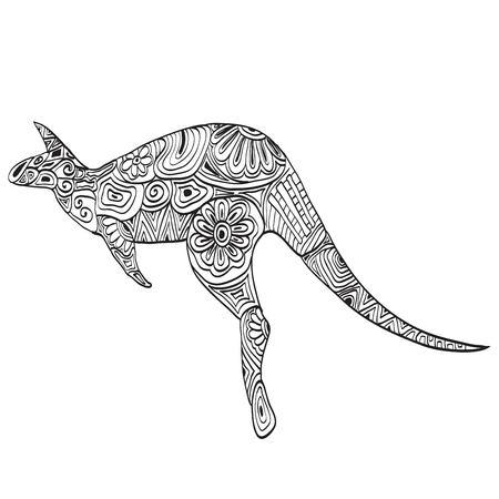 kangaroo white: Carved kangaroo