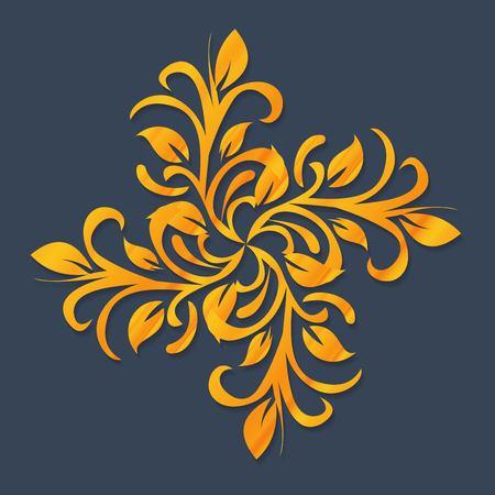 luxo: Ornamento do vetor no estilo vitoriano. Elemento barroco ornamentado por design, decoração floral. Rendado ornamental para convites de casamento, cartões