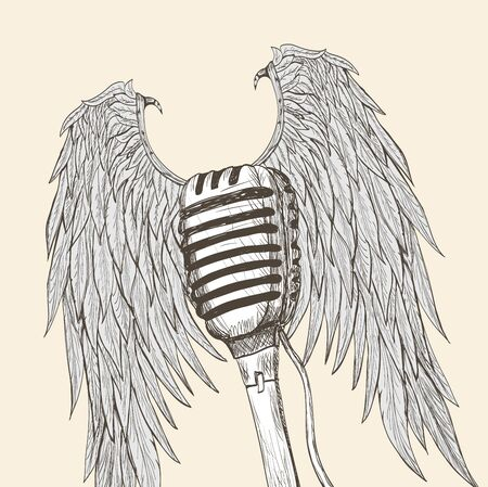 winged: Winged microphone Illustration