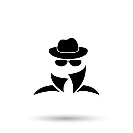 icône noire de l'agent d'espionnage anonyme.