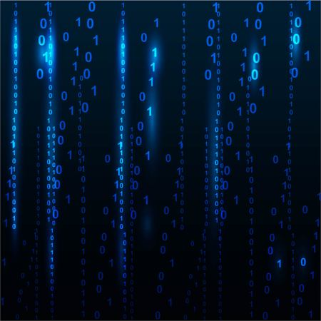 illustration of matrix style binary background with falling number Иллюстрация