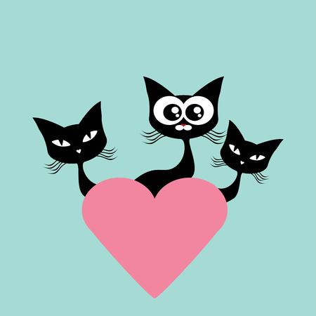 cat s: Black cat with hearts