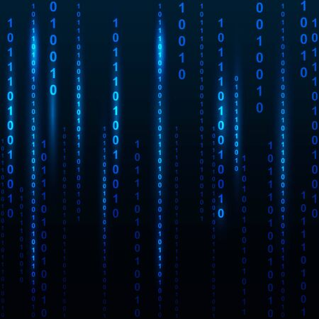listing: Blue screen computer binary code listing table background