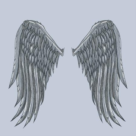 Vector schets van twee grote witte vleugels