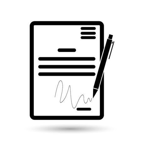 pact: The contract icon. Agreement and signature, pact, accord, convention symbol Illustration