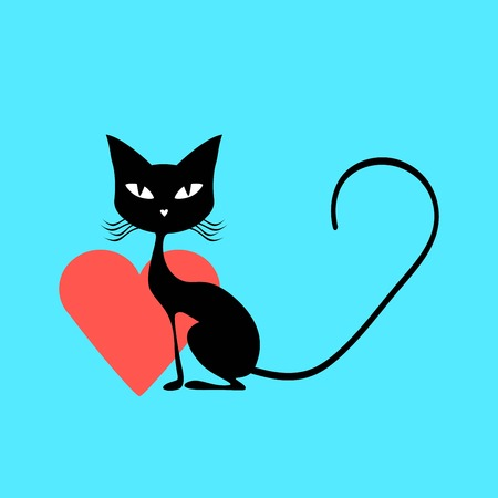 black and red cat: Black cat with a red heart Illustration