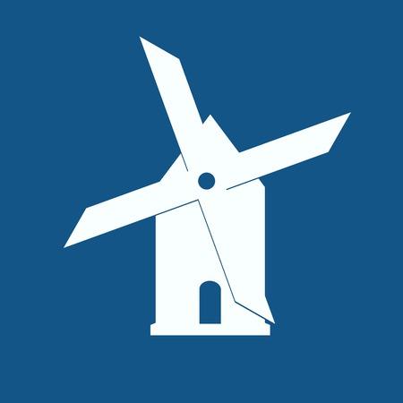 Mühle-Symbol auf blauem Hintergrund isoliert Illustration