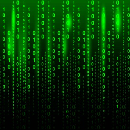 numbers background: Binary code flowing over a green background. Digital illustration. Illustration