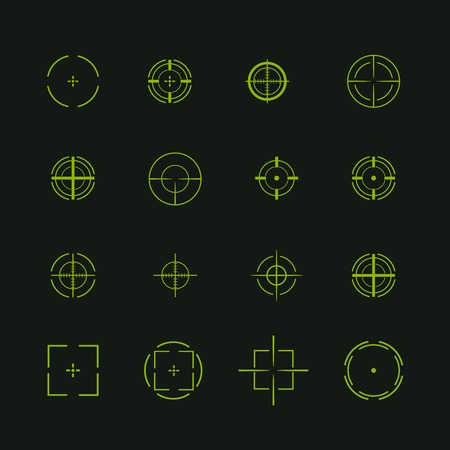 Set of different flat vector cross hair sign icons. Line simple symbols. Target aim symbol. Circles and rounded squares buttons.