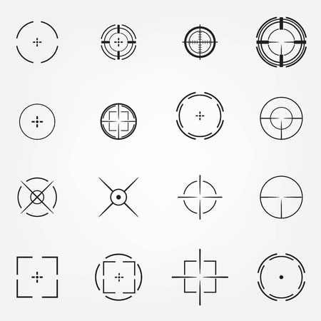 shooters: Crosshair icons set for computer games shooters or original mouse cursors pointers for computer programs. Sixteen vector target aim symbols. Circles and rounded squares buttons