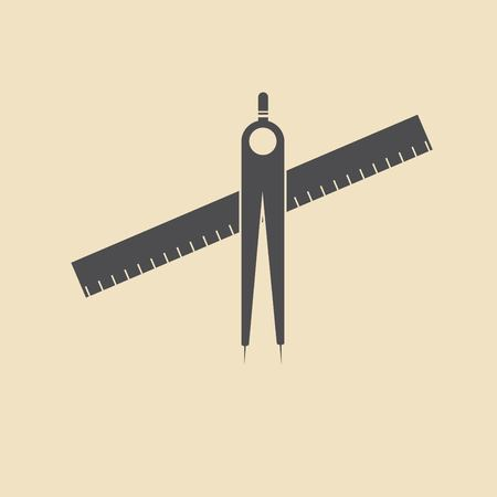 dividers: compass, dividers icon Illustration