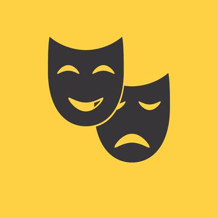 theater mask: Theater mask icon or sign, vector illustration