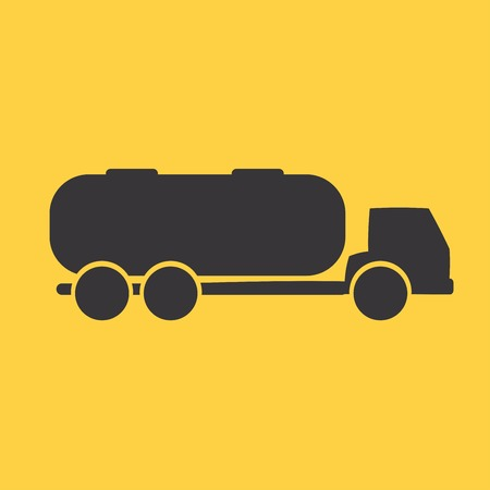 waggon: Tank car. Trailer White flat simple vector icon Illustration