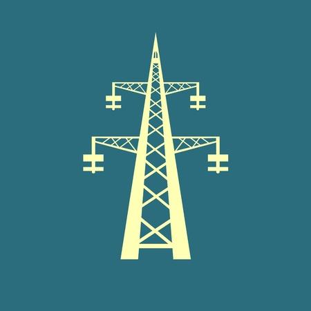 Power transmission tower icon Illustration