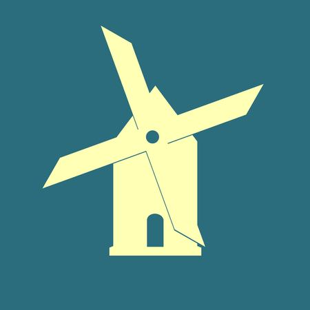 agro: Mill icon isolated on blue background illustration
