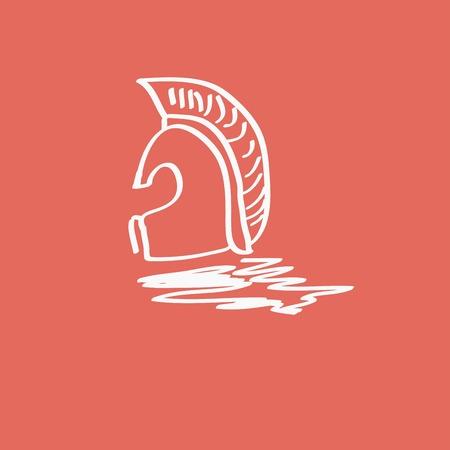 ancient civilization: Greek, ancient helmet icon isolated Illustration
