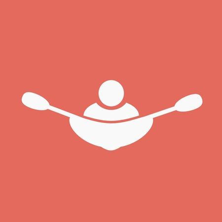 black white kayak: canoeing icon Illustration