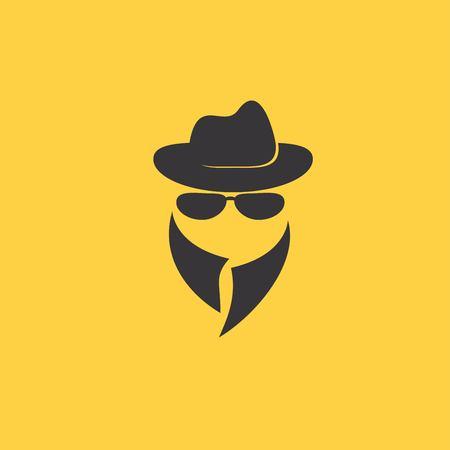 fake mask: Man in suit. Secret service agent icon Illustration