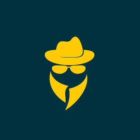 unrecognizable: Man in suit. Secret service agent icon Illustration