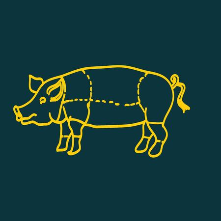 pork rib: pig icon, vector pig silhouette, isolated butcher shop sign Illustration