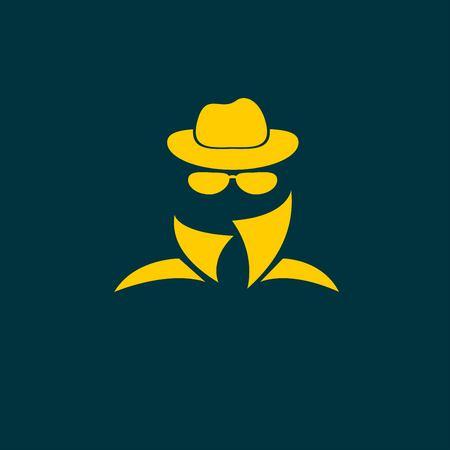 Man in suit. Secret service agent icon 矢量图像