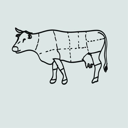 flank: cow meat icon Illustration