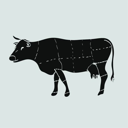chuck: cow meat icon Illustration