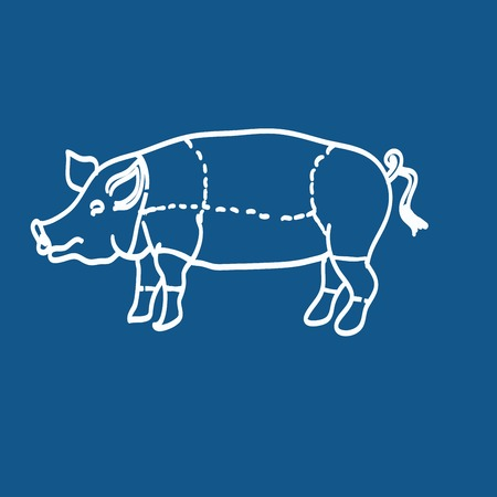 roast lamb: pig icon, vector pig silhouette, isolated butcher shop sign Illustration