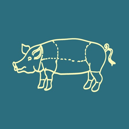 carver: pig icon, vector pig silhouette, isolated butcher shop sign Illustration