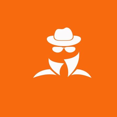 incognito: Man in suit. Secret service agent icon Illustration