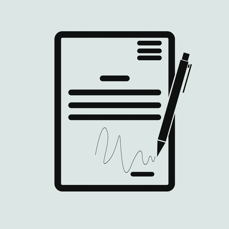 convention: The contract icon. Agreement and signature, pact, accord, convention symbol Illustration