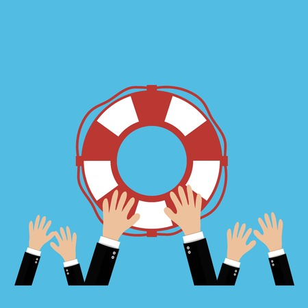 Helping Business to survive. Drowning businessman lifebuoy from another Illustration