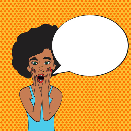 Pop art young womans face with an open mouth and big bulging eyes. black woman surprised retro woman in comic style. Vector illustration. Illustration