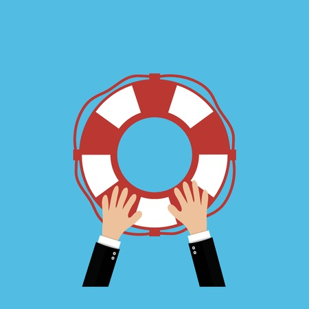 raise hand: Helping Business to survive. Drowning businessman lifebuoy from another Illustration