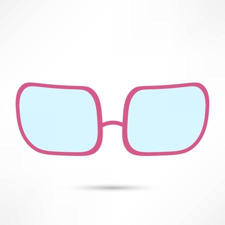 rose-colored glasses for eyes on white background Illustration
