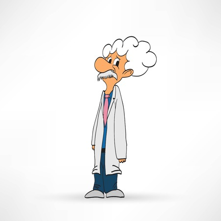 Scientist on a white background, vector illustration Illustration