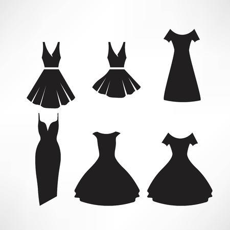 Vintage dresses silhouette vector set Illustration