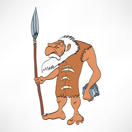 homo erectus: Cartoon caveman with a club vector illustration