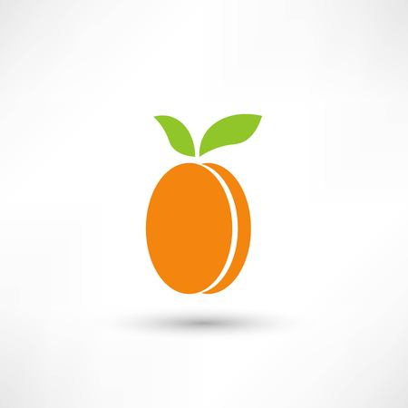 Apricot with leaves icon
