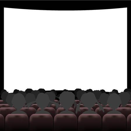 auditorium: Cinema auditorium with screen and seats Illustration