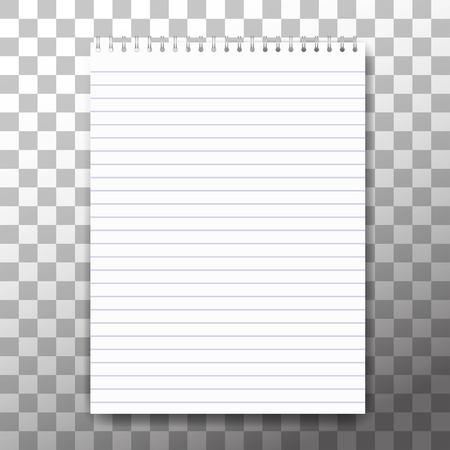 vuoto notebook realistico a spirale notepad isolato su bianco vettoriale