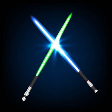 Zwei gekreuzte Licht Schwerter auf Nachthimmel Hintergrund. Vektor-Illustration.