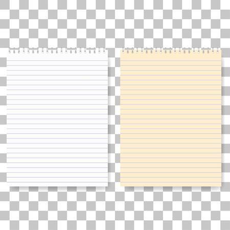 Illustrazione di realistico Vector Notepad Set. Attrezzature per ufficio, Notebook rifornimento di scuola Vector carta con bianco e fogli gialli
