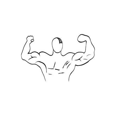 hercules: Muscle man - Bodybuilder. Vector illustration