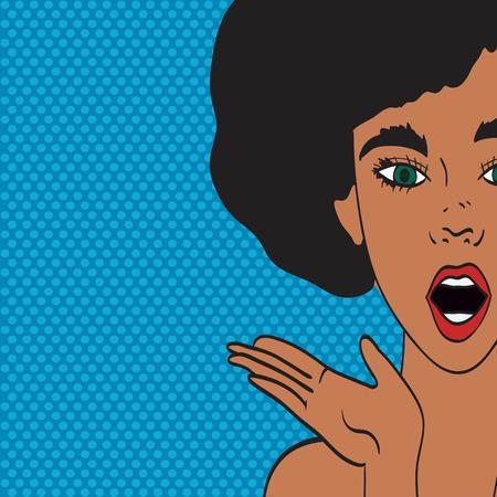 Pop art retro style woman showing with speech bubble. Comic hand drawn design illustration.