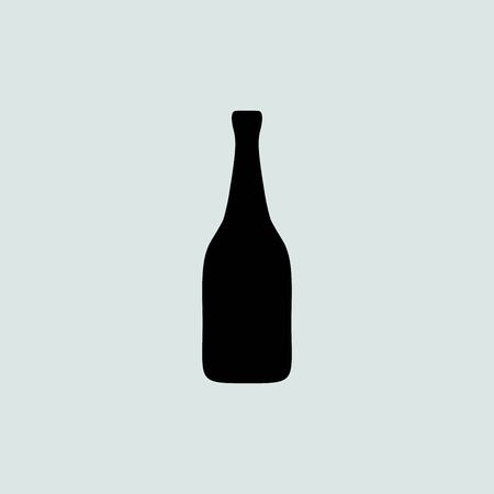 popping cork: Vector bottle of champagne on a grey background Illustration