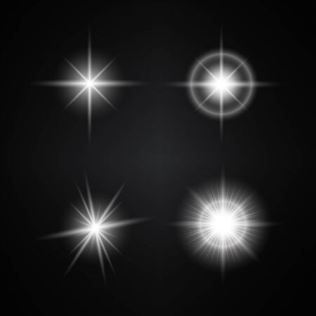 Vector Set of Different White Lights. Different Stars Collection. Star Lights Illustration