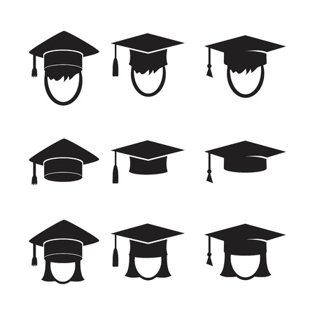 Graduation cap vector icons set. Illustration isolated for graphic and web design.