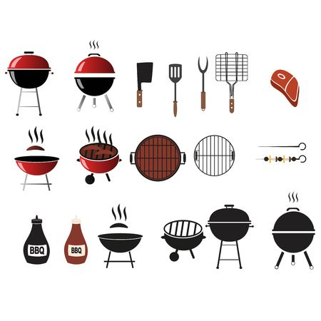 Vector barbecue and grill icons set,flat design Stock Vector - 86543617
