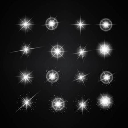 Set of Different White Lights. Illustration